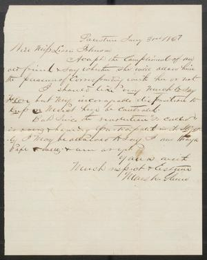 Primary view of object titled '[Letter from Marsh Glenn to Lizzie Johnson]'.