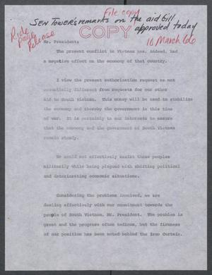 Primary view of object titled '[John Tower Speech on Aid Bill for South Vietnam, March 10, 1966?]'.