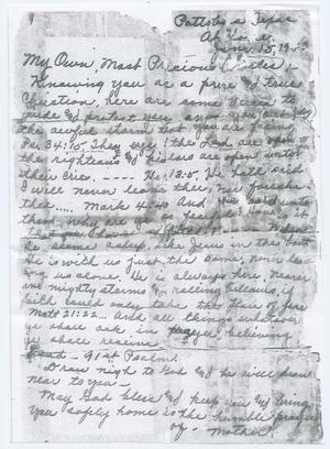 Primary view of object titled '[Letter from Katie Dickey to Charles Dickey, June 15, 1943]'.