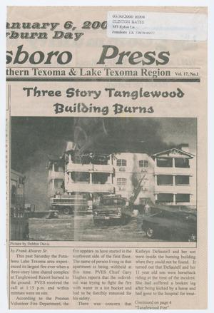 Primary view of object titled '[Newspaper Clipping About a Burning Building in Pottsboro, Texas]'.