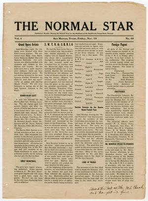 Primary view of object titled 'The Normal Star (San Marcos, Tex.), Vol. 4, Ed. 1 Friday, November 19, 1915'.