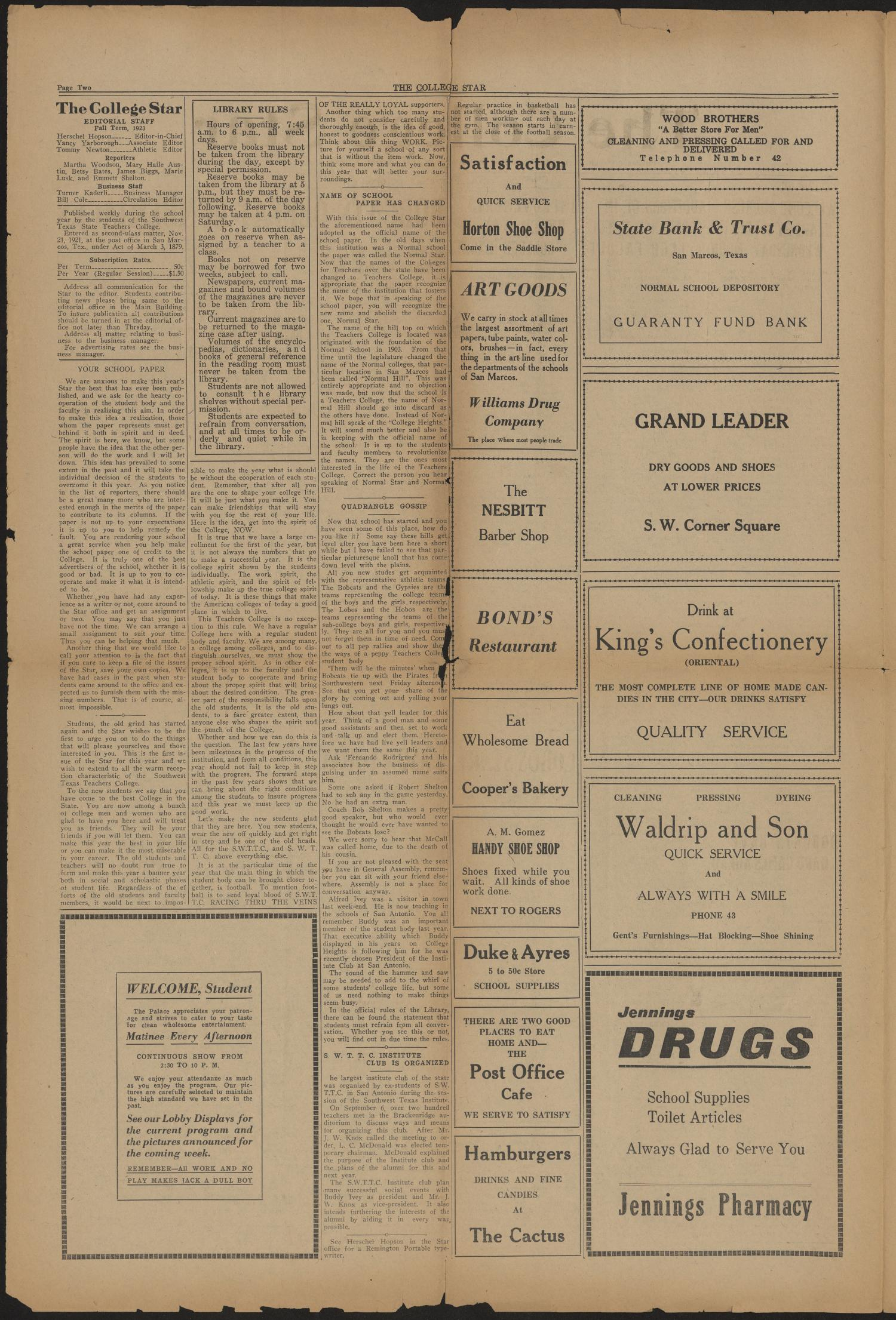 The College Star (San Marcos, Tex.), Vol. 12, No. 1, Ed. 1 Saturday, October 6, 1923                                                                                                      [Sequence #]: 2 of 4