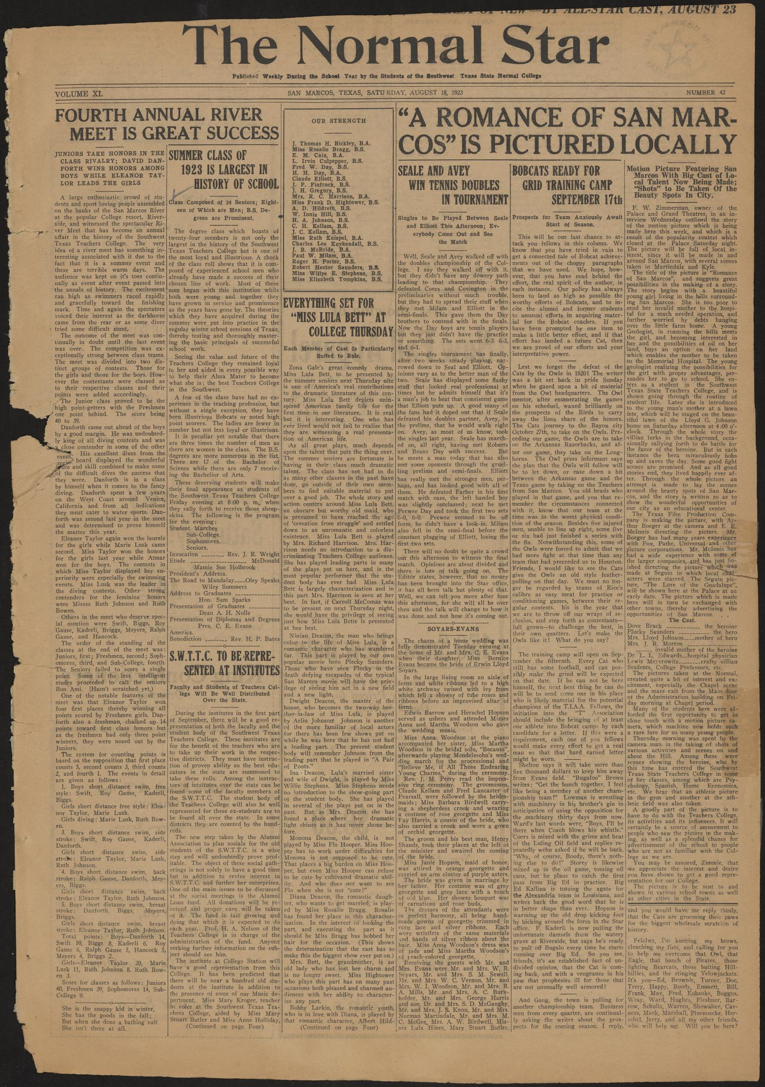 The Normal Star (San Marcos, Tex.), Vol. 11, No. 42, Ed. 1 Saturday, August 18, 1923                                                                                                      [Sequence #]: 1 of 4