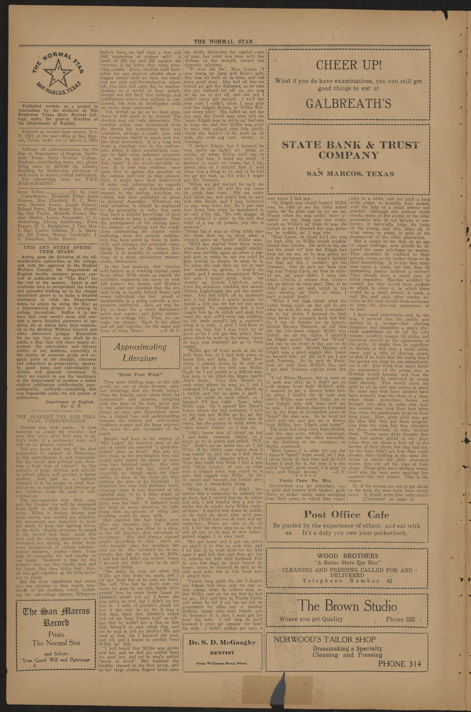 The Normal Star (San Marcos, Tex.), Vol. 10, No. 22, Ed. 1 Saturday, March 18, 1922                                                                                                      [Sequence #]: 2 of 4