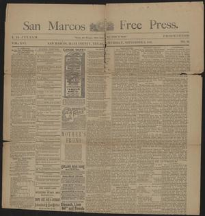 Primary view of object titled 'San Marcos Free Press. (San Marcos, Tex.), Vol. 16, No. 38, Ed. 1 Thursday, September 8, 1887'.