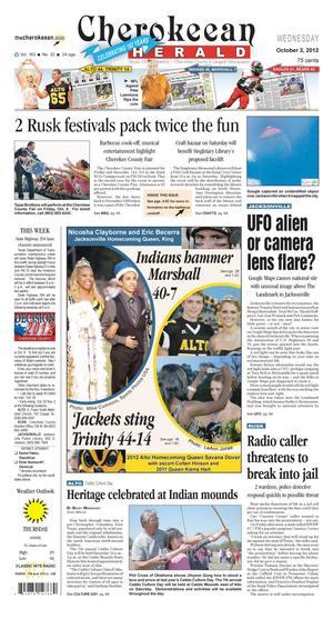 Cherokeean Herald (Rusk, Tex.), Vol. 163, No. 32, Ed. 1 Wednesday, October 3, 2012
