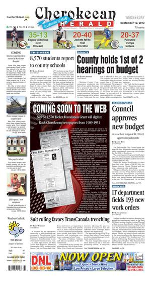 Cherokeean Herald (Rusk, Tex.), Vol. 163, No. 29, Ed. 1 Wednesday, September 12, 2012