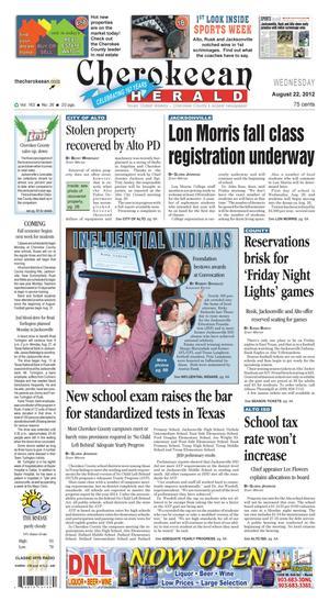 Cherokeean Herald (Rusk, Tex.), Vol. 163, No. 26, Ed. 1 Wednesday, August 22, 2012