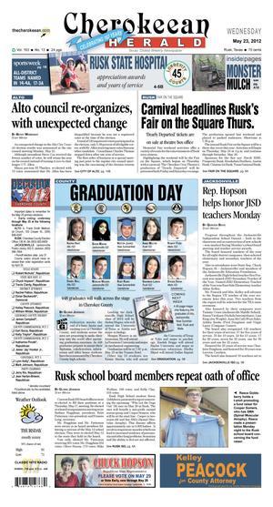 Cherokeean Herald (Rusk, Tex.), Vol. 163, No. 13, Ed. 1 Wednesday, May 23, 2012