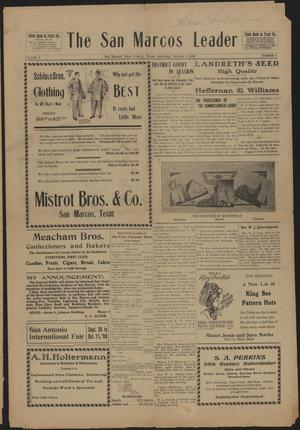 Primary view of object titled 'The San Marcos Leader (San Marcos, Tex.), Vol. 3, No. 6, Ed. 1 Saturday, October 3, 1908'.