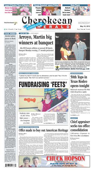 Cherokeean Herald (Rusk, Tex.), Vol. 163, No. 12, Ed. 1 Wednesday, May 16, 2012