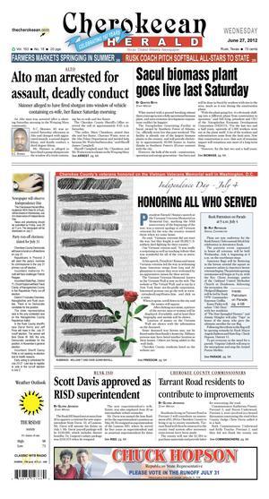 Cherokeean Herald (Rusk, Tex.), Vol. 163, No. 18, Ed. 1 Wednesday, June 27, 2012