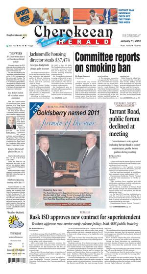 Cherokeean Herald (Rusk, Tex.), Vol. 162, No. 46, Ed. 1 Wednesday, January 11, 2012