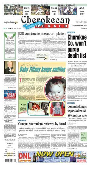 Cherokeean Herald (Rusk, Tex.), Vol. 163, No. 30, Ed. 1 Wednesday, September 19, 2012