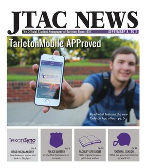 Primary view of object titled 'JTAC News (Stephenville, Tex.), Ed. 1 Monday, September 8, 2014'.