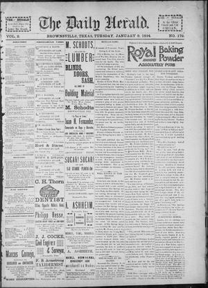 Primary view of object titled 'The Daily Herald (Brownsville, Tex.), Vol. 2, No. 172, Ed. 1, Tuesday, January 9, 1894'.