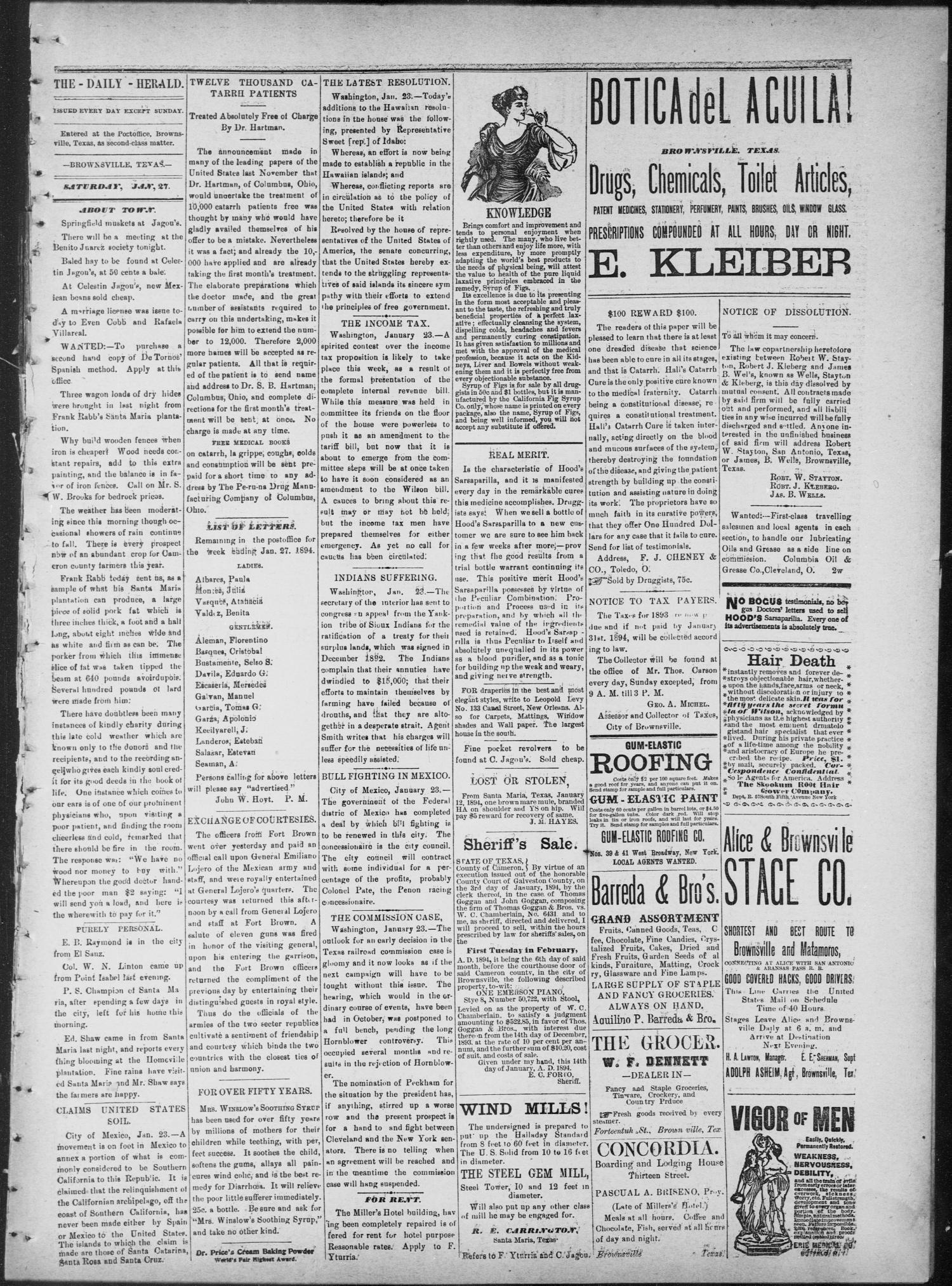 The Daily Herald (Brownsville, Tex.), Vol. 2, No. 188, Ed. 1, Saturday, January 27, 1894                                                                                                      [Sequence #]: 3 of 4