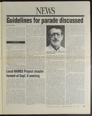 A newspaper page title news at the top, with the words Guidelines For Paradise Discussed under it. Under that are four columns of text, with a small photograph of a man in glasses at the top of the third column.