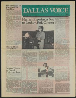 Primary view of Dallas Voice (Dallas, Tex.), Vol. 1, No. 44, Ed. 1 Friday, March 8, 1985