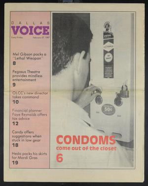 Primary view of object titled 'Dallas Voice (Dallas, Tex.), Vol. 3, No. 43, Ed. 1 Friday, February 27, 1987'.