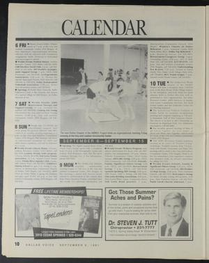 Newspaper page titled Calendar in big letters at the top. Under it is a photograph, 2 columns on the sides of it and 2 smaller one under it. There are two advertisements at the bottom.