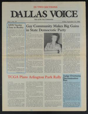 Primary view of Dallas Voice (Dallas, Tex.), Vol. 1, No. 19, Ed. 1 Friday, September 14, 1984
