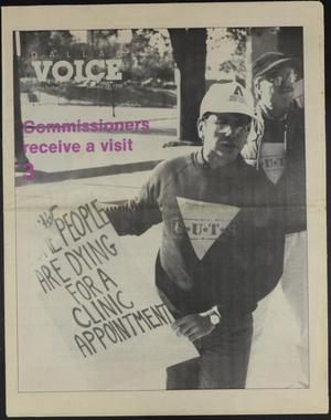 A newspaper page that says Dallas Voice in the top left corner. The page is a picture of a man holding a sign that says Some People Are Dying For A Clinical Appointment.