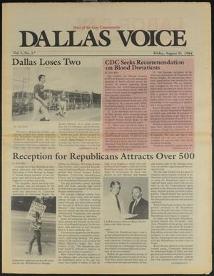 Primary view of object titled 'Dallas Voice (Dallas, Tex.), Vol. 1, No. 17, Ed. 1 Friday, August 31, 1984'.