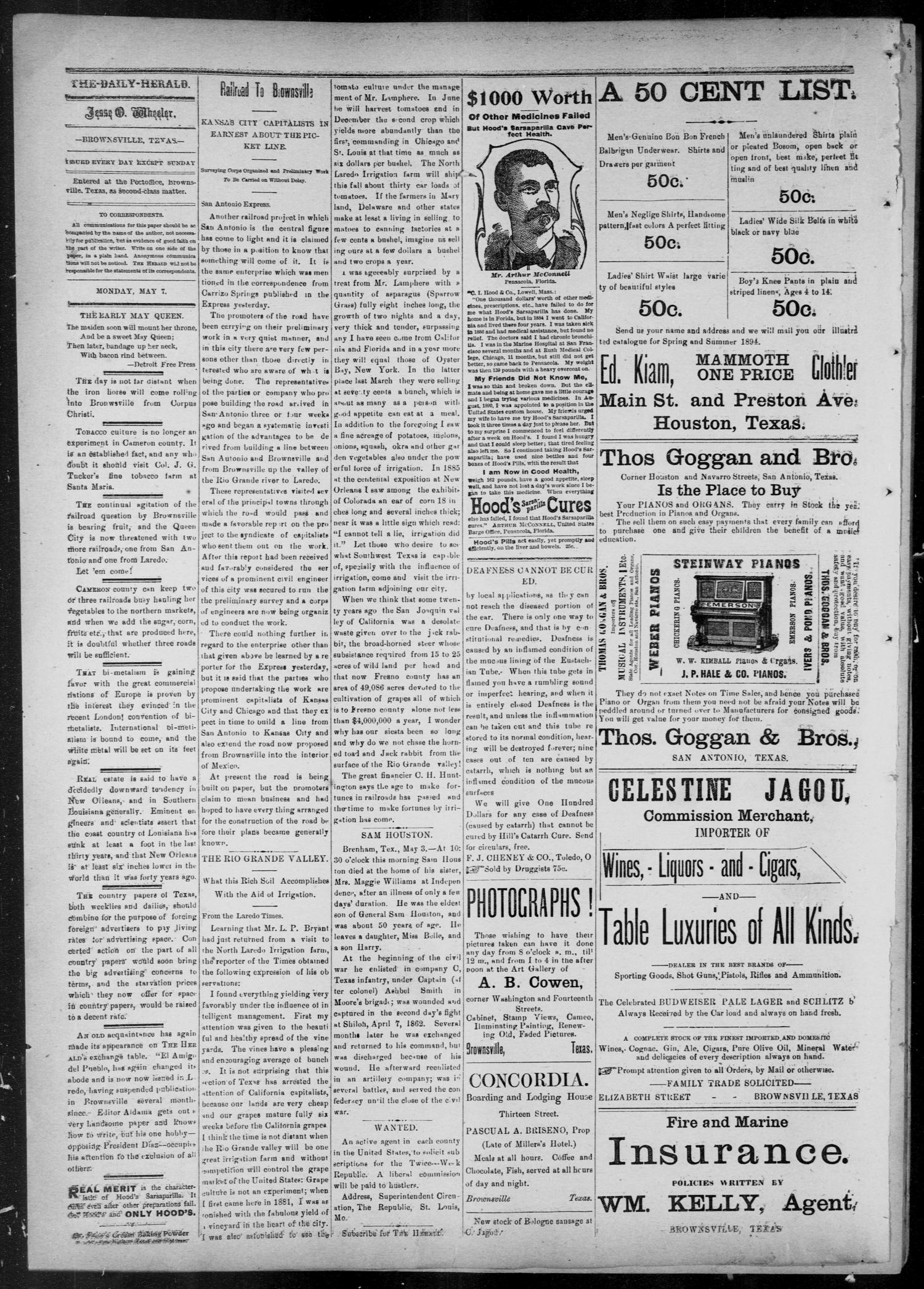 The Daily Herald (Brownsville, Tex.), Vol. 2, No. 227, Ed. 1, Monday, May 7, 1894                                                                                                      [Sequence #]: 2 of 4