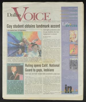 Primary view of object titled 'Dallas Voice (Dallas, Tex.), Vol. 15, No. 10, Ed. 1 Friday, July 3, 1998'.