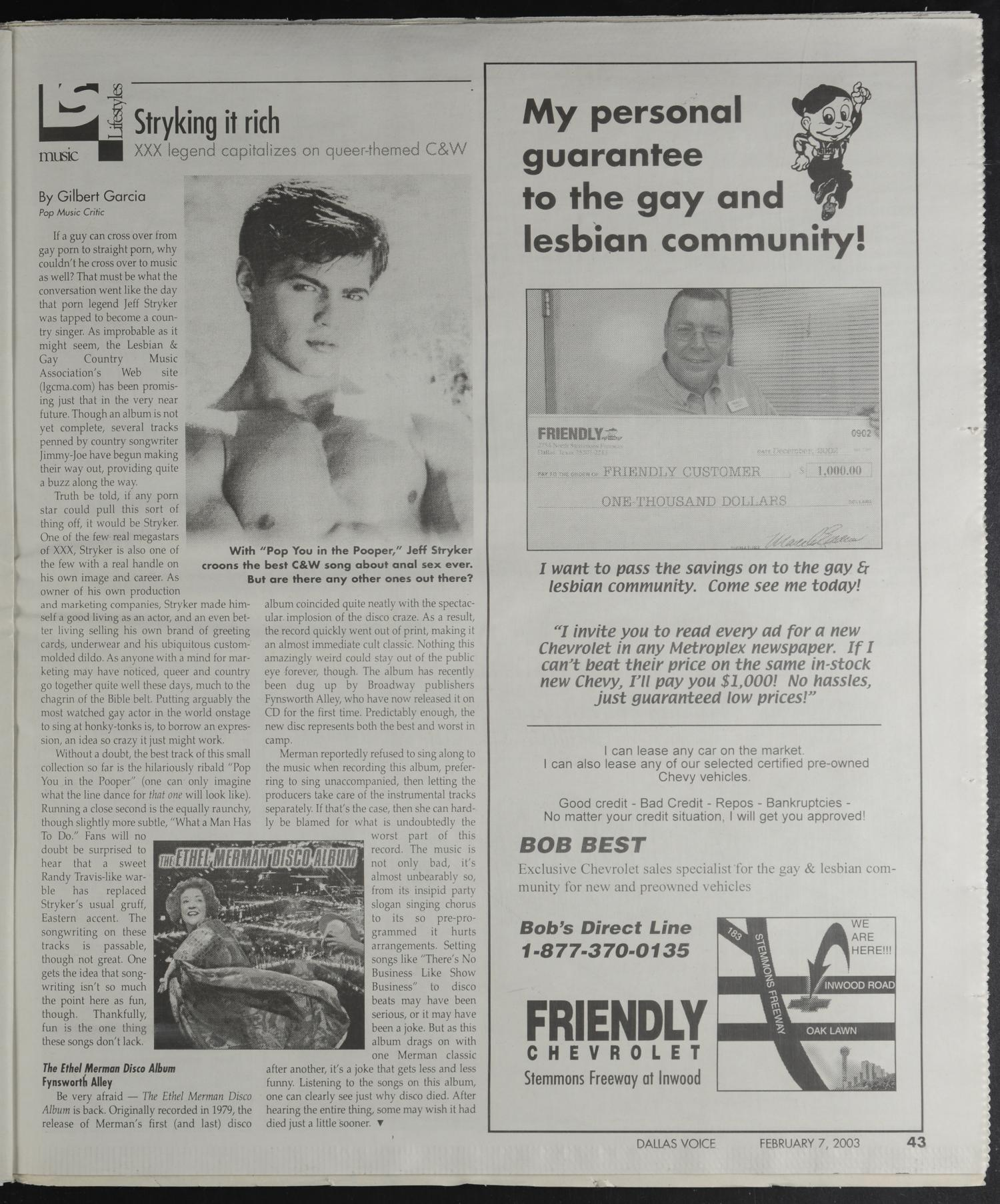 Dallas Voice (Dallas, Tex.), Vol. 19, No. 41, Ed. 1 Friday, February 7, 2003                                                                                                      [Sequence #]: 43 of 72