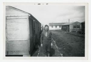 Primary view of object titled '[Photograph of Elwood Vaughn at Camp]'.