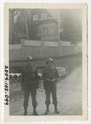 Primary view of object titled '[Photograph of Officers in German Street]'.