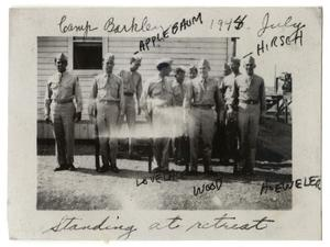 Primary view of object titled '[Photograph of Men Standing at Retreat at Camp Barkeley]'.