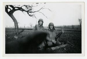 Primary view of object titled '[Photograph of Soldiers in Foxhole]'.