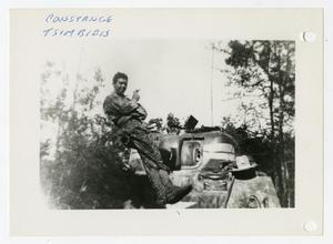 Primary view of object titled '[Photograph of Constance Tsimbidis and Tank]'.