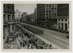 Primary view of object titled '[Photograph of Fort Lewis, Washington Parade]'.