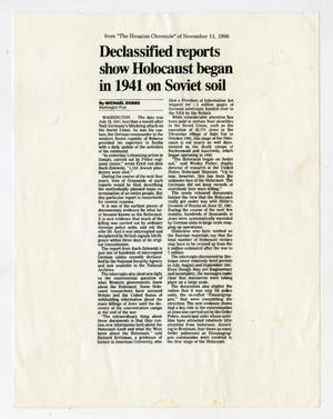 Primary view of object titled 'Declassified reports show Holocaust began in 1941 on Soviet soil'.