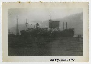 Primary view of object titled '[Photograph of Cargo Ship]'.