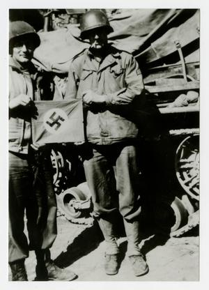 Primary view of object titled '[Photograph of Soldiers with Nazi Flag]'.