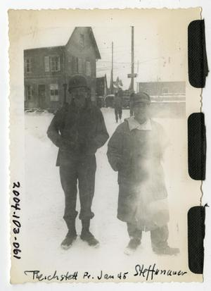 Primary view of object titled '[Photograph of Soldiers in Snowy Town]'.
