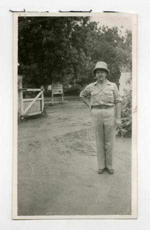 Primary view of object titled '[Photograph of Soldier at U.S. Forces HQ]'.
