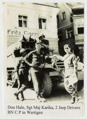 Primary view of object titled '[Photograph of Hale, Karicka, and Two Jeep Drivers]'.