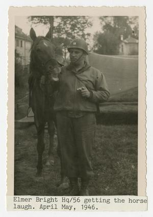 Primary view of object titled '[Photograph of Soldier and Horse]'.