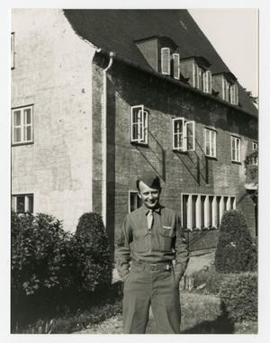 Primary view of object titled '[Photograph of Nick Hardony Outside Building]'.