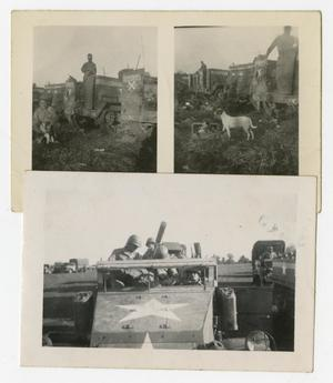 Primary view of object titled '[Photographs of Soldiers and Half-Tracks]'.