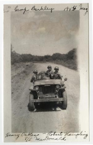 Primary view of object titled '[Three Men in Jeep at Camp Barkeley]'.