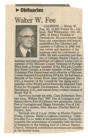 Primary view of object titled 'Obituaries: Walter W. Fee'.