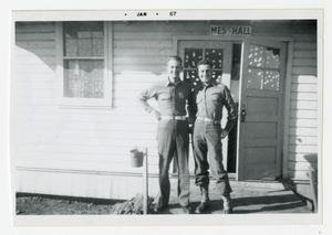 Primary view of object titled '[Photograph of Soldiers Outside Mess Hall]'.