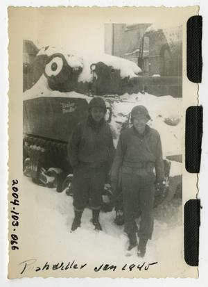 Primary view of object titled '[Photograph of Lieutenants and Tank in Snow]'.